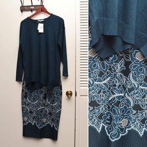 Beautiful dark teal color top & skirt